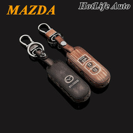 mazda cx smart key Canada - 2014 2015Mazda 3 CX-5 CX 5 Axela Car Keychain Genuine Leather Carve Car Key Case Cover Smart Car Key Chain Ring Auto Accessory