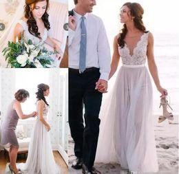 Sheath Column Wedding Dress Buttons Canada - Plus Size 2019 Cheap Summer Beach Sheath Wedding Dresses Illusion Bodice Lace V Neck Covered Buttons Back Modern Boho Bridal Wedding Gowns