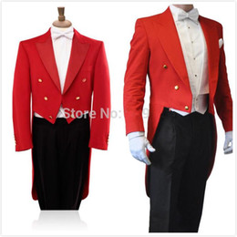 white royal blue groom's suit NZ - 2015 High quality Pure Red Tailcoat Peak Lapel Groom's wedding Tuxedos Groom suit Bestman's tuxedos(Jacket+Pants+BowTie+Pocketsquare)