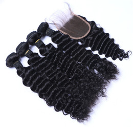 High Quality Sheds NZ - 8A High Quality Indian Deep Wave with 4*4 Lace closure 100% Unprocessed Human HairNo Shedding Free Tangle Full And Thick Free Shipping DHL