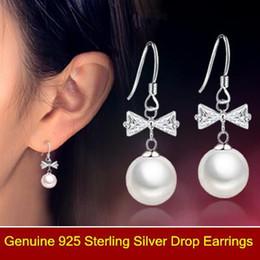 $enCountryForm.capitalKeyWord NZ - Pearls earrings Luxury butterfly tie pearls earrings 925 Sterling Silver bridal Wedding dangle brinco prata Jewlery gift of ladies 0082