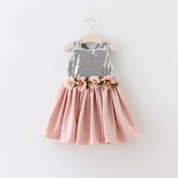 Robe De Maroquinerie En Gros Pas Cher-New Baby Girls Sequined Wedding Party Dresses Enfants Girl Princess Floral Robe Girl Summer Ruffle Dress 2016 Babies Wholesale Clothing