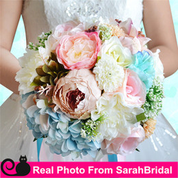 Discount roses calla lily - Hot Sale Bridal Wedding Bouquet 2016 High Quality In Stock Wedding Decoration Artificial Bridesmaid Flowers For Beach We