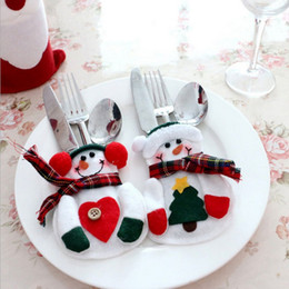 silverware holders 2019 - Silverware Holder Knives And Forks Pocket Handmade Lovely Christmas snowman Shaped Christmas Cutlery Suit cheap silverwa