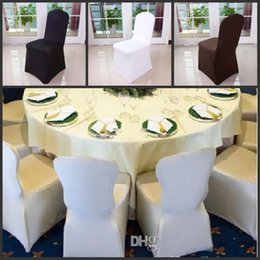 White Spandex For Chairs NZ - Wholesale Black white Chair Covers Spandex For Wedding Banquet Chair Covers Hotel Decoration Decor Free Shipping