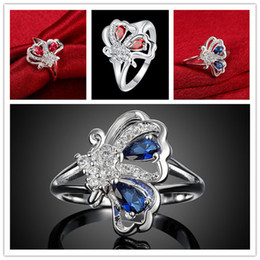 Hollow Fingers Australia - Best gift mix size 10 pieces fashion hollow butterfly silver finger ring Brand new women's 925 silver two colors gemstone Rings GTR078
