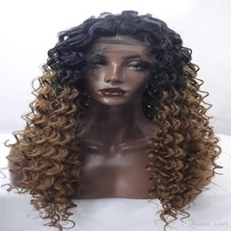 beautiful long hair women 2019 - lace front wigs beautiful new woman with a long black blonde wig Mixed color Curly hair African American fashion wig Pop