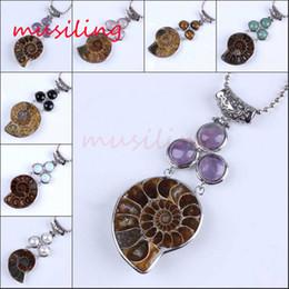 Reiki Healing Wholesalers Australia - Pendants Necklace Chain Conch Fossil Pendant 3 Chakra Gem Stone Beads Pendulum Jewelry Charms Reiki Healing Amulet Fashion Jewelry