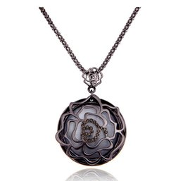 roses sweater white Australia - 2016 autumn and winter new retro hollow rose inlaid cat's eye stone pendants sweater chain long fashion decorative necklace