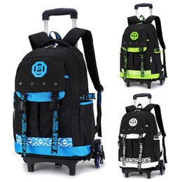 $enCountryForm.capitalKeyWord Canada - New 6 wheels Chidren's Backpack Fashion waterproof School Bag Trolley Backpacks For Children Thick Mesh Shoulder Strap Kids Bags