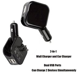 2018 foldable charger 2 In 1 Car & Home Travel Wall Charger Car-Charger Dual USB Port Foldable US Plug Adapter Car charger for iphone Huawei Samsung foldable charger on sale