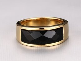 Discount agate stone band rings - 2016 New arrival high quality black agate gem stone 925 sterling golden men finger rings wedding ring for man jewelry wh