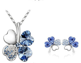 $enCountryForm.capitalKeyWord Australia - Fashion Clover Four Leaves Hearts Crystal Rhinestone Necklace 925 Silver Earring Set Austria Crystal Necklace Jewelry