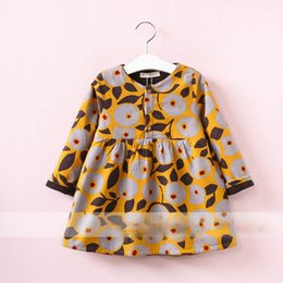 Robe À Volants Jaunes Pas Cher-Everweekend Girls Fruit Floral Ruffles Robe Cute Baby Jaune et Bleu Couleur Vêtements Princess Fleece Doublant Autumn Winter Dress