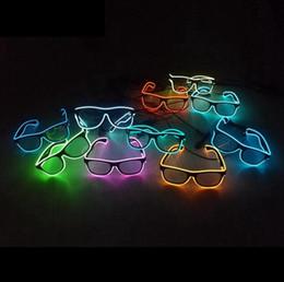 Glow Costumes Canada - designer sunglasses Fashion Top El Wire Neon LED Light Up Shutter LED Glow women Glasses Rave Costume Party DJ Bright Flash men SunGlasses