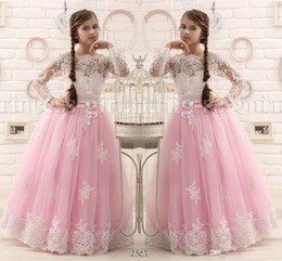 Barato Vestidos De Princesa Para Casamentos De Crianças-2017 New Arrival Lovely Princess Ball Gown Mangas compridas Pink Tulle Lace Communion Kids Flower Girl's Dresses Long para Casamentos Party
