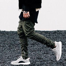 Barato Homens De Calça De Algodão Magro-Kanye West Pants Hip-Hop Streetwear Men Slim Skinny Cotton Casual Calças Sports Jogger Pants Ankle-Zip Biker Pants LGF0605