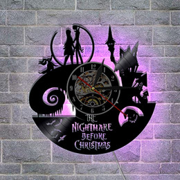 Jack Gifts Australia - Nightmare Before Christmas Wall Clock LED Lighting Vinyl Light Jack and Sally, colour LED light,Christmas Gift