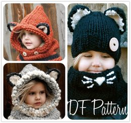 3a21b2e71d9 2016 Fox Baby Hats Autumn Winter Caps Kids Girls Boys Warm Woolen Knitted  Coif Hood Scarf Beanies toddler christmas gifts 2-10 years old