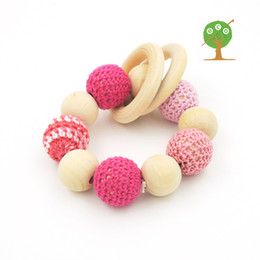 Wood Baby Rattle NZ - Organic nursing toy baby rattle 20mm natural wooden teething toy ring shade of Pink baby girl rattle toddler shower gift ET27