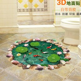pond wall stickers Australia - Lotus Pond Fish Pool 3D Wall Sticker for Kids Children Baby Room Home Decorations Personalized Floor Wall Sticker Decals