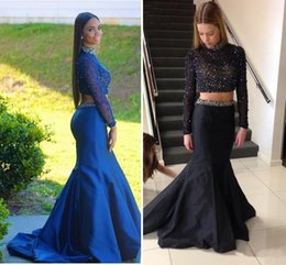 Wholesale New Mermaid Two Pieces Prom Dresses Long Sleeves Major Beading Open Back Royal Blue Black Modest Evening Party Special Occasion Gowns