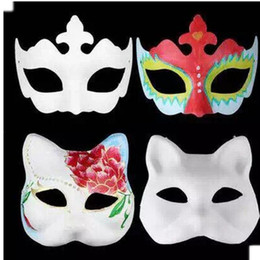 Blank Face Masks Wholesale NZ - party masks 100pc plain white half-face DIY child Crown masks Blank paper for halloween holiday #H54