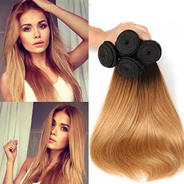 honey hair color 2019 - Brazilian Straight Human Hair Weaves Ombre T1b 27 Honey Blonde Two Tone Color Full Head 3pcs lot Double Wefts Remy Hair