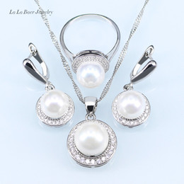 $enCountryForm.capitalKeyWord NZ - L&B New circles Freshwater pearl ball pendant long necklace women black chain fashion 925 Stamp silver Color jewelry sets