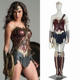 Barato Vestuário Das Mulheres Maravilhas-Batman v Superman Dawn of Justice Wonder Woman Cosplay Costume Top Full Set
