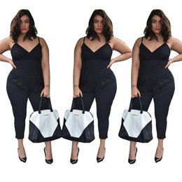 Plus Size V Neck Jumpsuit Australia - Wholesale- 2016 Summer Plus Size 4XL Women's Sexy Strap V Neck Jersey Jumpsuit Romper Women's Plunge Jumpsuits