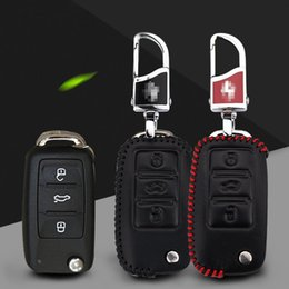 Wholesale car styling Premium Leather Remote Key Holder Fob Case Cover fit For VOLKSWAGEN Lavida Jetta Polo Bora