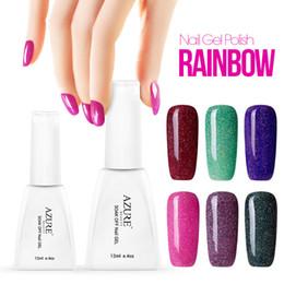 rainbow nail polish 2019 - Azure 28 Colors Gel Polish Colorful Rainbow Nail Gel 12ml UV Gel Soak Off UV Color Gel Nail Polish Nail Colors Art cheap