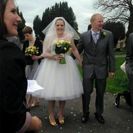 $enCountryForm.capitalKeyWord NZ - New Design 1950s Vintage Plus Size Short Wedding Dresses Jewel Neck Sleeveless Bow Dot Tulle A Line Tea Lengthb Bridal Gowns Custom Made