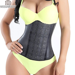 Barato Xs Do Corset Do Underbust-Atacado- Miss Moly Mulheres Fajas Trimmer Trainer Black Shapewear Body Shaper LATEX RUBBER Cintura Underbust Cincher Corset Tamanho Plus S-6XL