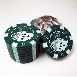 "Chip Wholesale Cigarettes Canada - Zinc Alloy Poker Chip Herb Grinder 1.75"" Mini Poker Chip Style 3 Piece Herb,Spice,Tobacco Grinder Poker Herb Smoke Cigarette Grinder"