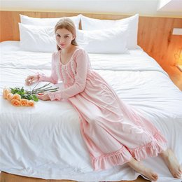 Longue Chemise De Nuit En Dentelle Rose Pas Cher-Autumn Rose Doux Sexy long sommeil Lounge Cotton Sleepwear Femme Accueil Robe en dentelle Princesse Vintage Nightgown femmes Sleeping Dress