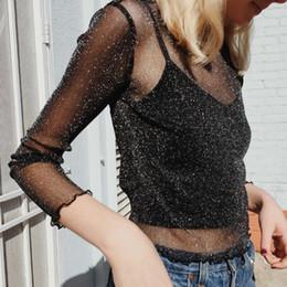 $enCountryForm.capitalKeyWord Canada - Sexy Mesh Transparent Clubwear T-shirt Fashion Shiny Long Sleeve Tops Women Sexy Club Party Casual Black Tee Shirts Thin O Neck Short Tops