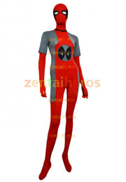 Costume Spandex Gris Pas Cher-Costume Deadpool Grey and Red Spandex Lycra Halloween Cosplay Party Costume Zentai
