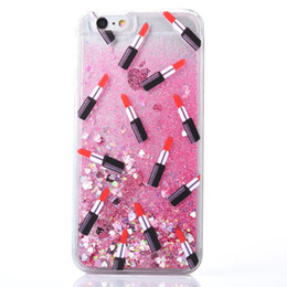 Chinese  Sexy lipsticks liquid case for iPhone 5 5s 6 6s 7 7plus DIY customized cover flowing quicksand clear case manufacturers