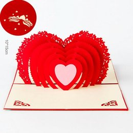 Paper Art Pop Up Cards Canada - Wedding Greeting Cards Red Heart Design 3D Pop UP Gift Crads creative soulmate wholesale DIY paper art postcards Chinese Wholesale Best Sale