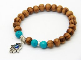 Wholesale New Products Best Quality mm Beaded Wood Beads Fatima Hand Hamsa Cheap Bracelets New OM Yoga Jewelry