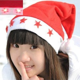 Free Christmas Gifts For Children Australia - LED Pentag Christmas hat Cosplay Hats Christmas cap Santa Claus hat Christmas Cosplay Hats For Adults and Children gift Free DHL FedEx