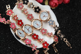 Dark Pink Bracelet NZ - Free shipping!flower with crystal metal band,gold plate round case,quartz movement,gerryda fashion woman lady quartz bracelet watches