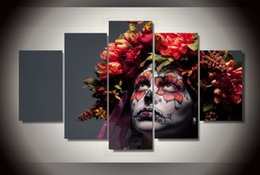 Painting Faces Australia - 5 Panel HD Printed Day of the Dead Face Group Painting Canvas Print room decor print poster picture canvas Free shipping canvas art