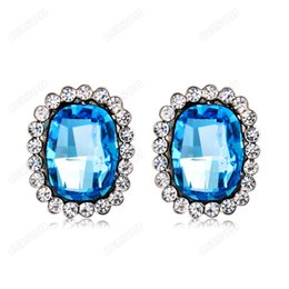 Oval Crystal Stud Earrings Canada - Brand New Cason Top Quality Women Fashion Silver plated Oval Blue Crystal Stud Earrings Blue colour drop shipping EJ-0037