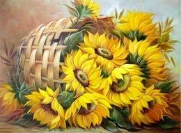 needlework baskets NZ - New DIY 5D Mosaic Diamond Painting Cross Stitch kits sunflower in Basket full Resin round Diamonds Embroidery needlework Home Decor yx0058