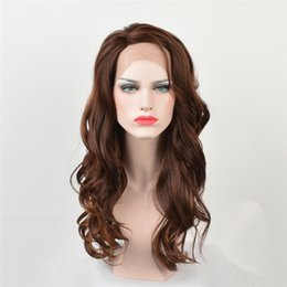 $enCountryForm.capitalKeyWord NZ - kabell Fashion wigs lace front wigs natural hairline with a long brown long wavy hair faux lace wig Dark brown Big wave hairstyle 24 inch