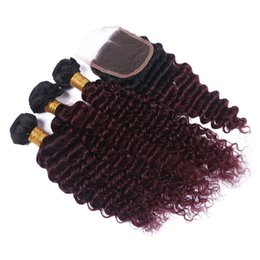 Chinese  Burgundy Ombre Brazilian Human Hair Wefts With Closure Two Tone #1B 99j Wine Red Deep Curly Human Hair 3Bundles With 4x4 Lace Closure manufacturers