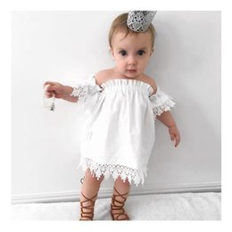 Las Niñas Blancas Volantes Vestidos Baratos-Everweekend Baby Girls Off Shoulder Lace Dress Ruffles Summer Blanco Cute Toddler Baby Party Dress Princesa vestidos de vacaciones